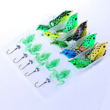20pcs Set Frog Fishing Lures Soft Plastic Bait Bass Tackle Jig Hook Rig Kit +Box