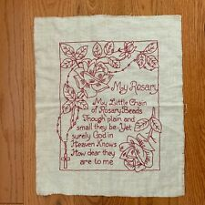 Vintage  REDWORK Embroidery  Needlework Sampler on Linen My Rosary Beads