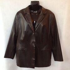 Blazer Brown Sz 16 Eur 46 Lined Jacket Steilmann Womens Faux Leather Lightweight