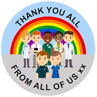 48 Personalised NHS RAINBOW THANK YOU Stickers 40mm Labels
