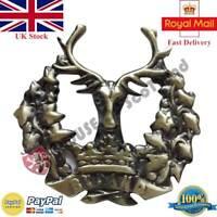 Bydand Gordon Highlanders Glengarry Cap Badge Antique Stag Crown Scottish RGT