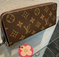 Auth LOUIS VUITTON M68314 Portefeuille Clemence Flower Zippy Wallet Pink charm