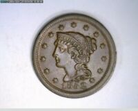 1852 Braided Hair Large Cent 1c old penny  ( 9-300 M6 )