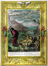 By Picart Temple of the Muses Hand-Colored Engraving  REPEOPLE THE WORLD  1733
