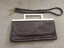 Vintage Elegance In Suzy Smith Brown Leather Long Shoulder Metal Clutch Brass