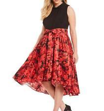 IGNITE EVENINGS® Plus Size 18W Black/Red Floral Print Midi Dress NWT $140
