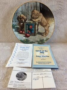 """Porcelain Collectors Plate """"Puppy Playtime"""" """"Double Take"""" By Jim Lamb pre-owned"""