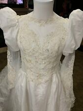 Vintage 1980s Satin Wedding Dress White Lace Beads Long Train for craft