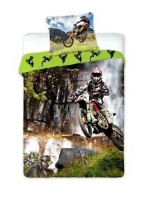 100% Cotton Duvet Cover Set Kids Boys Single Quilt Motocross Childrens Bedding
