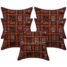 "Ethnic Cotton Sequins Patchwork Pillow Case Covers 16"" Set Of 5 Cushion Cover"