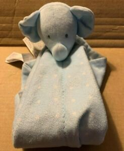 Child of Mine Carters Elephant Security Blanket Lovey Blue White Polka dot Stars