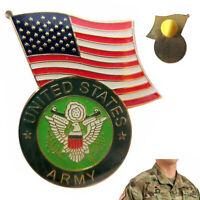 US Army Lapel Pin Enamel American Flag Military Tie Hat Jacket Veteran Uniform