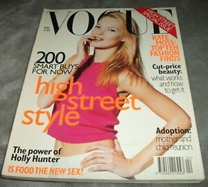 VOGUE MAGAZINE April 1996 KATE MOSS Holly Hunter CARLA BRUNI 1990s FASHION UK