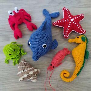 Set of 7 Handmade Crochet Sea Animals Toys Montessori Educational Toys for Baby