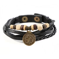 Genuine Leather Bracelet Constellation Braided Rope