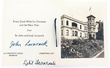 .1949 RARE CHRISTMAS CARD  SIGNED BY THE QLD GOVERNOR SIR JOHN LAVARACK & WIFE