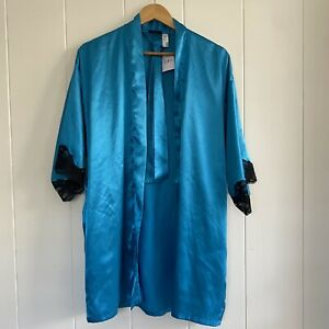 NWT!! Frederick's of Hollywood Satin Blue Lake Lace M PinUp Robe Wrap