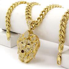 """Men Iced Out Hip Hop 14k Gold Plated Lion Face CZ Pendant 30"""" Cuban Link Chain"""
