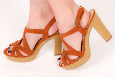 70s vintage inspired faux suede leather wooden effect heels size 8 boho hippy