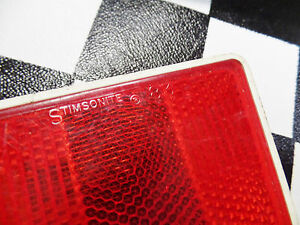 NOS Red Rectangular Reflector - for 70's MX BMX Chopper Muscle Bike Bicycle