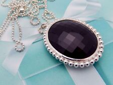 $1200 Tiffany Ziegfeld Black Onyx Necklace in Sterling Silver, 28in