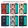 For Samsung Galaxy J4/J6 Plus A6 2018 Stand Armor Rubber TPU Case+Tempered Glass