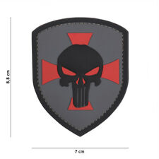 AIRSOFT morale patch  3D PVC Shield Punisher cross grey