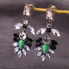 Vintage Style Crystal Glass Tree Leaf Chandelier Bronze Dangle Stud Earrings