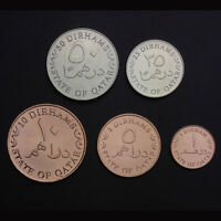 [K-1] Qatar Set 5 Coins, 1 5 10 25 50 dirhams, 2012 , UNC