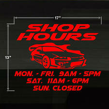 Store Shop Hours Mechanic Paint Shop Auto Repair RED Large17x13 Decal Sticker