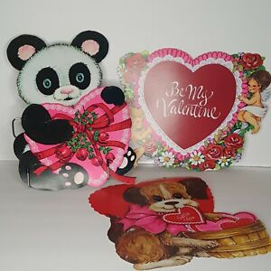 Lot of 3 Vtg Bright Valentine Cardboard Decoration Be My Valentine Puppy Panda