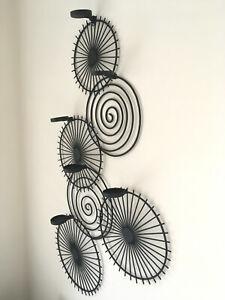 Modern Black Wrought Iron Wall Art Tea Light Candle Holder Swirl Spoke Abstract