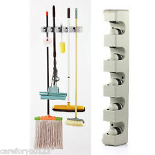 5 Rack Kitchen Mop Broom Holder Wall Mounted Organizer Brush Storage Hanger Tool