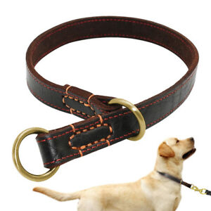 Genuine Leather Big Dog Training Collar Slip P Choke Strong for Pet Dogs Pitbull