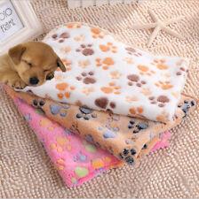 Pet Paw Print Dog Cat Pig Fleece Soft Warmer Blanket Bed Mat Winter Beige Camel