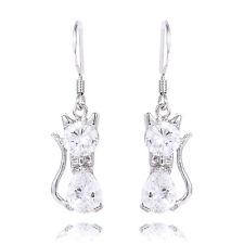 1 pair Women Cute Cat Silver Purple Amethyst Crystal Dangle Drop Earrings DIY