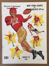 1955 NFL NEW YORK GIANTS v SAN FRANCISCO 49ERS FOOTBALL PROGRAM @ NEUTRAL SITE