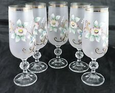 VINTAGE COCKTAIL/CHAMPAGNE FROSTED GLASS,GOLD RIM FLOWERS SET 5 STEMWARE