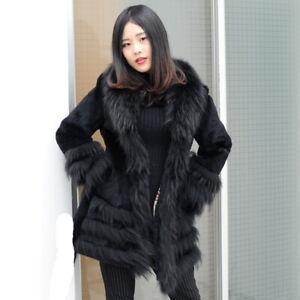 Sheared Rabbit Fur Coat with Finn Raccoon Trim, Real Fur Jacket