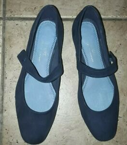 Next Womens Blue Slip On Suede Shoes Size 6