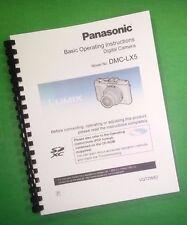 LASER PRINTED Panasonic DMC-LX5 Basic Camera 44 Page Owners Manual Guide
