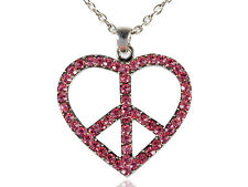 Womens Silver Tone Pink Rhinestones Heart Peace Sign Symbol Pendant Necklace