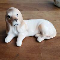 Lefton bone china hound dog figurine #4464 red foil label vintage porcelain