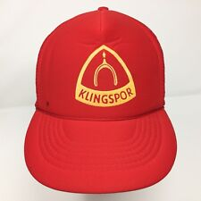 Vintage Klingspor Woodworking Trucker Snapback Hat Red Mesh