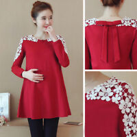Fall Winter Pregnancy Women Lace Tunic Maternity Clothes Shirt Dress Tops Blouse
