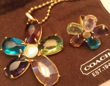 COACH Multicolor Flower Necklace and Matching Ring Size 6