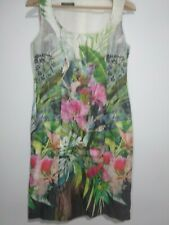 Apanage Birds Flowers Tropical Sheath Dress Size UK12 Green Pink White Races