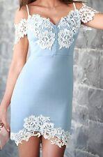 BNWT MICHELLE KEEGAN BABY BLUE, WHITE LACED BARDOT SCUBA FOAM  DRESS SIZE 16