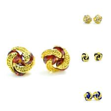 New Gold Plated Knot Design CZ Stones Woman Jewellery Ear Stud Earrings Fashion