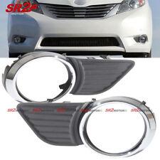 Chrome Trim ABS Fog Light Bezel Bumper Cover fits 11-15 Toyota Sienna XLE LE